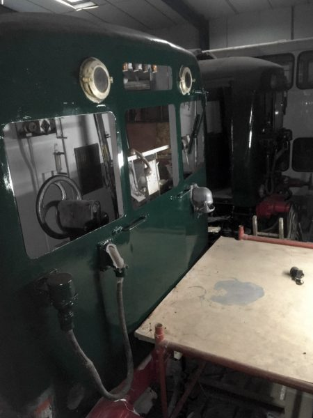 Photo of cab of class 502 vehicle 29896, with scaffold in front