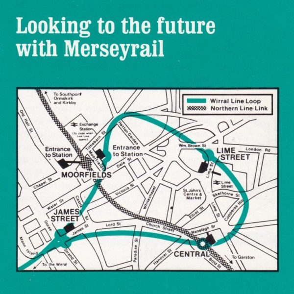 Map titled 'looking to the future with Merseyrail' showing new Loop and Link lines