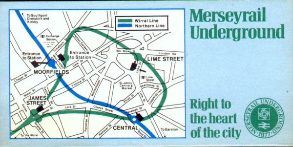 Merseyrail publicity showing the loop and link lines and the slogan Right to the Heart of the City